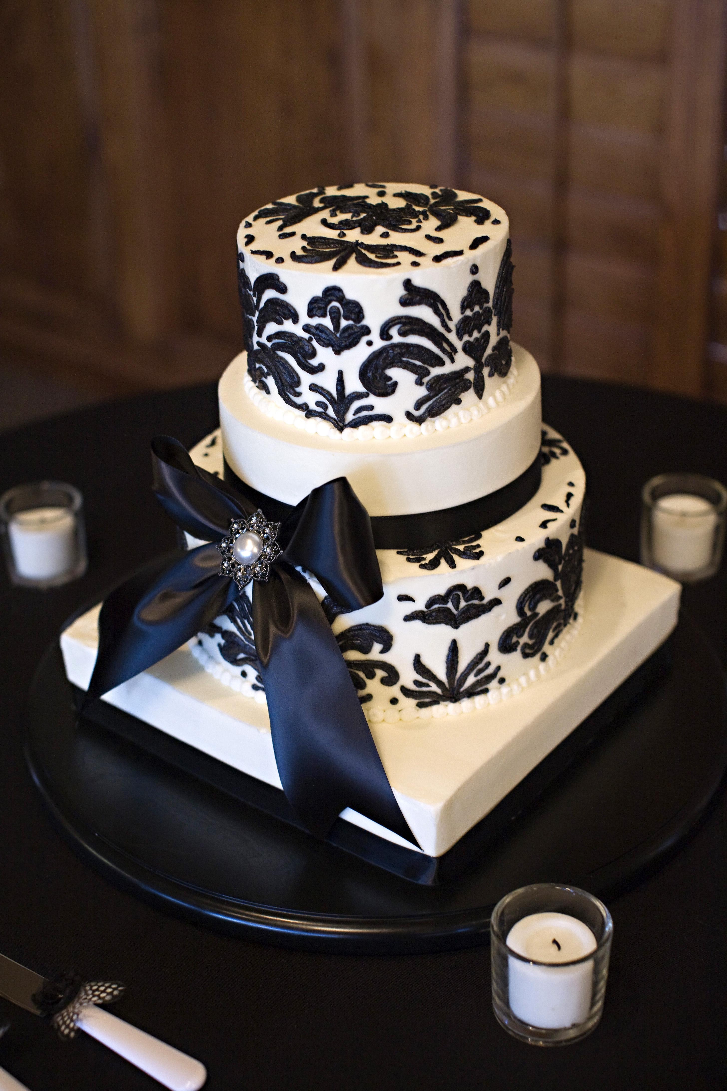Cakes, white, black, cake, Damask