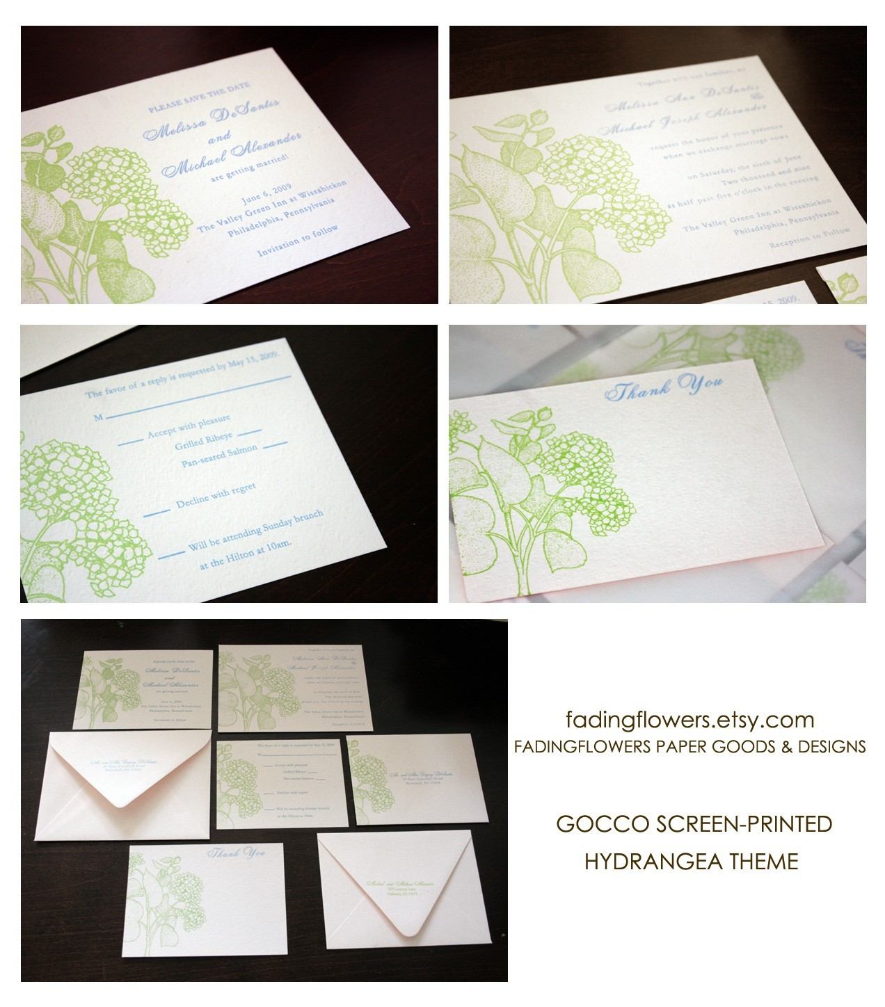 DIY, Thank you cards, Hydrangeas, Gocco, Save the date cards, Inks, Flat cards, Wedding invitations
