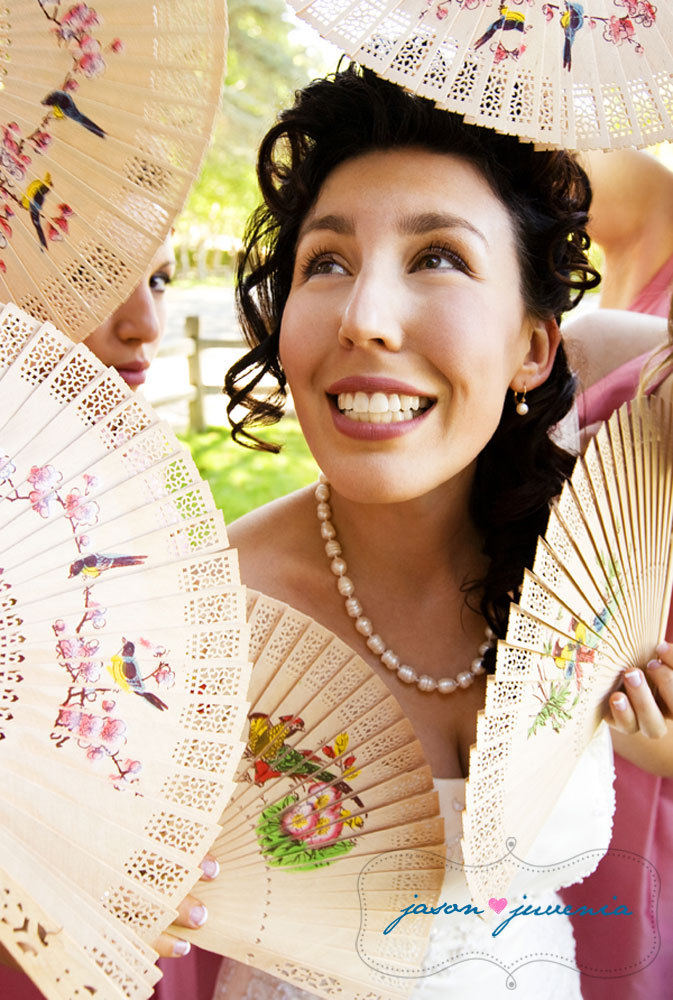 pink, Bride, Bridal, Portrait, Outdoor, Garden, Fans, Victorian, Jason and juvenia, Flowers & Decor