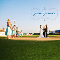 Ceremony, Flowers & Decor, blue, brown, venue, Bride, Groom, Wedding, Party, Unique, Teal, Baseball, Field, Jason and juvenia