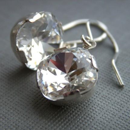 Jewelry, silver, Earrings, Crystal, Swarovski, Rhinestone, Bling, K garner designs, Sterling, Faceted
