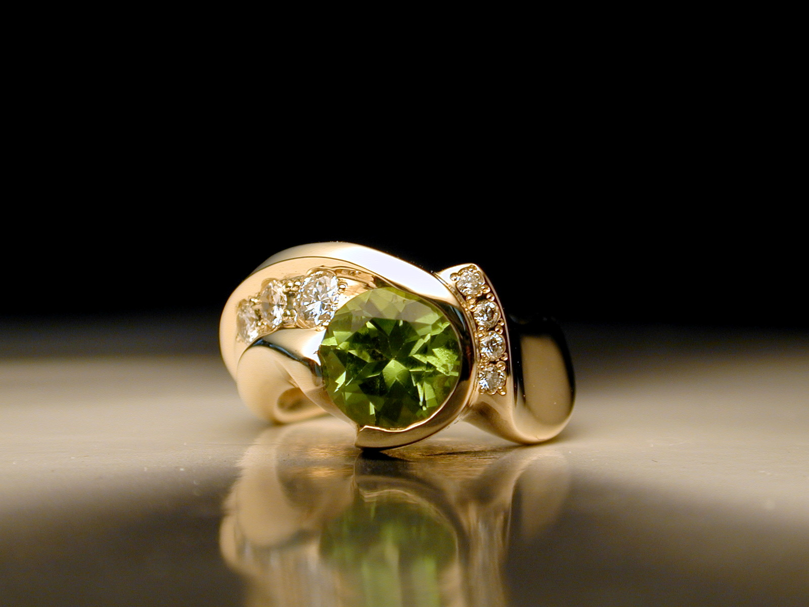gold, Wedding, Ring, Band, Engagement, Diamonds, Peridot, Jim dailing - portland oregon