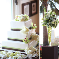 Ceremony, Flowers & Decor, Cakes, green, brown, cake, Lime, Sand, Casa, Romantica, Three, Tier, Luvbug films