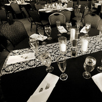 Reception, Flowers & Decor, white, black, Damask