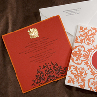 Stationery, orange, red, invitation, Invitations, Letterpress, Washington, Dc, Stamp, Foil, Sugar river stationers