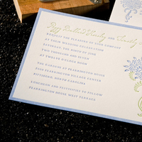 Stationery, blue, green, invitation, Invitations, Hydrangea, Letterpress, North, Carolina, Sugar river stationers, Fearrington