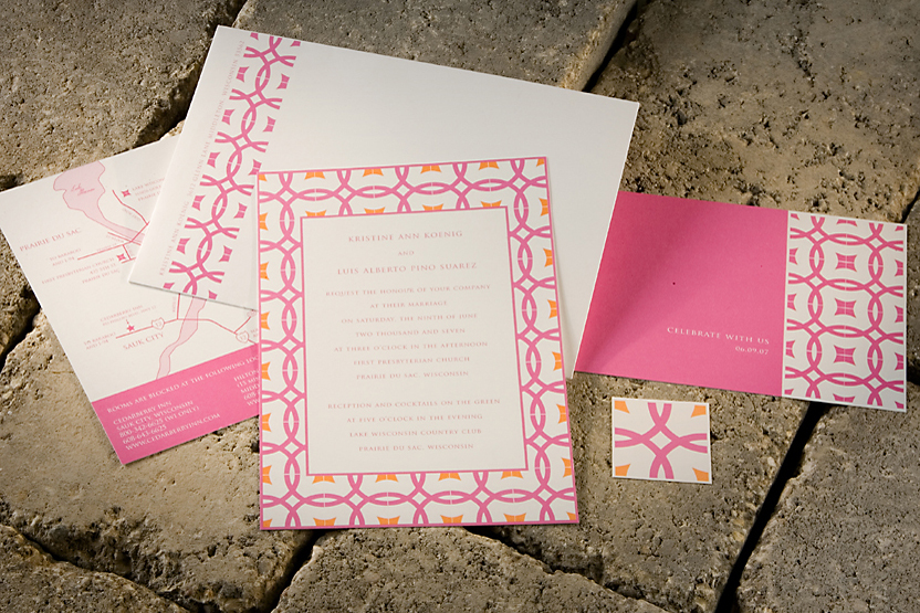 Stationery, orange, pink, invitation, Invitations, Letterpress, Sugar river stationers