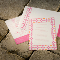 Stationery, orange, pink, invitation, Invitations, Bilingual, Latin