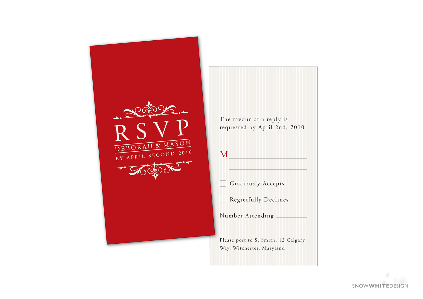 DIY, white, red, Rsvp, Design, Card, Stripes, Snow, Response, Snow white design