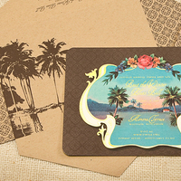 Stationery, Destinations, brown, invitation, Invitations, Destination, Aqua, Sugar river stationers
