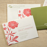 Stationery, pink, green, invitation, Invitations, Asian, Letterpress, Peony, Sugar river stationers
