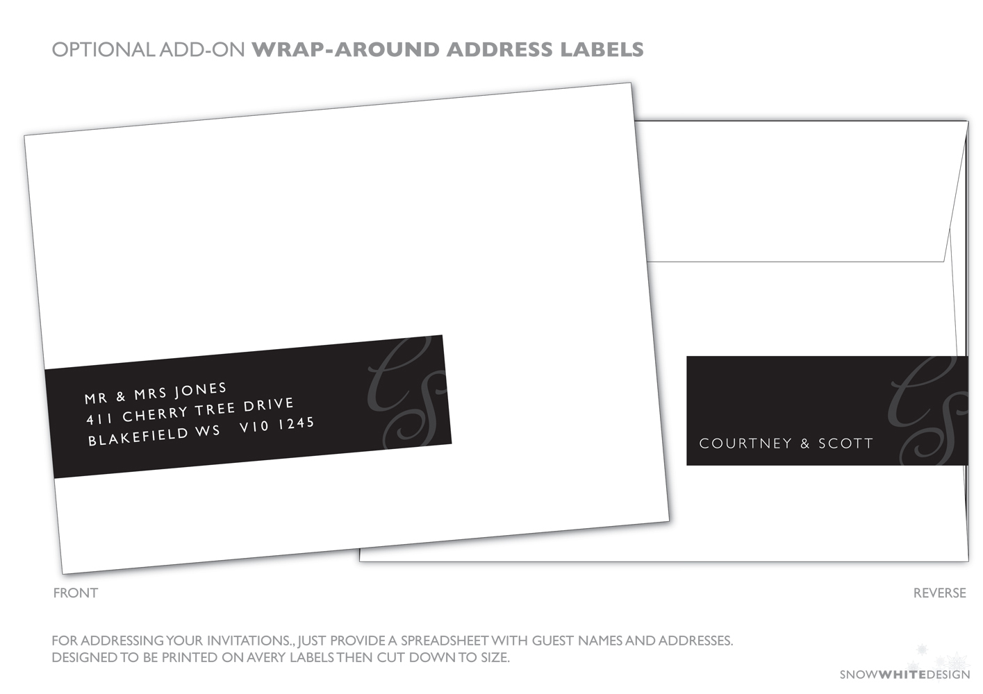 DIY, Stationery, white, black, invitation, Invitations, Grey, Design, Envelope, Invite, Snow, Address, Snow white design