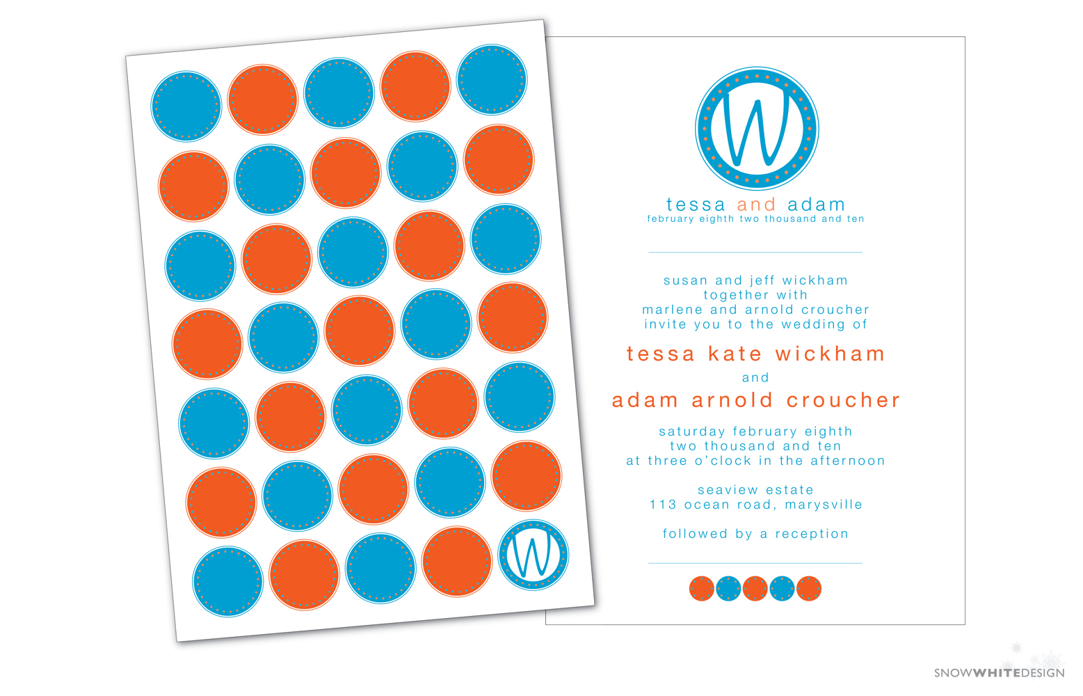DIY, Stationery, white, orange, blue, invitation, Invitations, Monogram, Pumpkin, Teal, Design, Invite, Snow, Circle, Snow white design