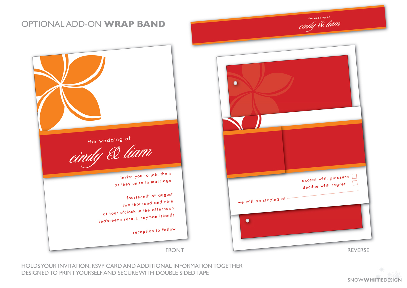 DIY, Flowers & Decor, Stationery, Destinations, white, orange, red, invitation, Invitations, Flower, Tropical, Band, Destination, Rsvp, Wrap, Design, Invite, Snow, Response, Around, Belly, Snow white design, Frangipani