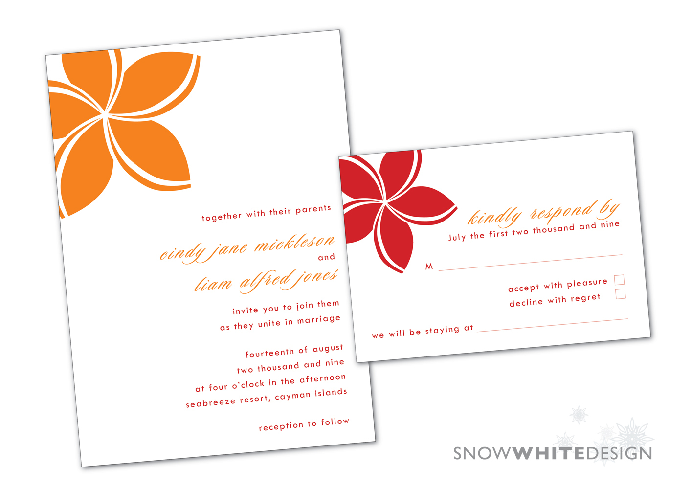 DIY, Flowers & Decor, Stationery, Destinations, white, orange, red, invitation, Beach, Beach Wedding Invitations, Invitations, Flower, Tropical, Destination, Rsvp, Design, Invite, Snow, Response, Snow white design, Frangipani