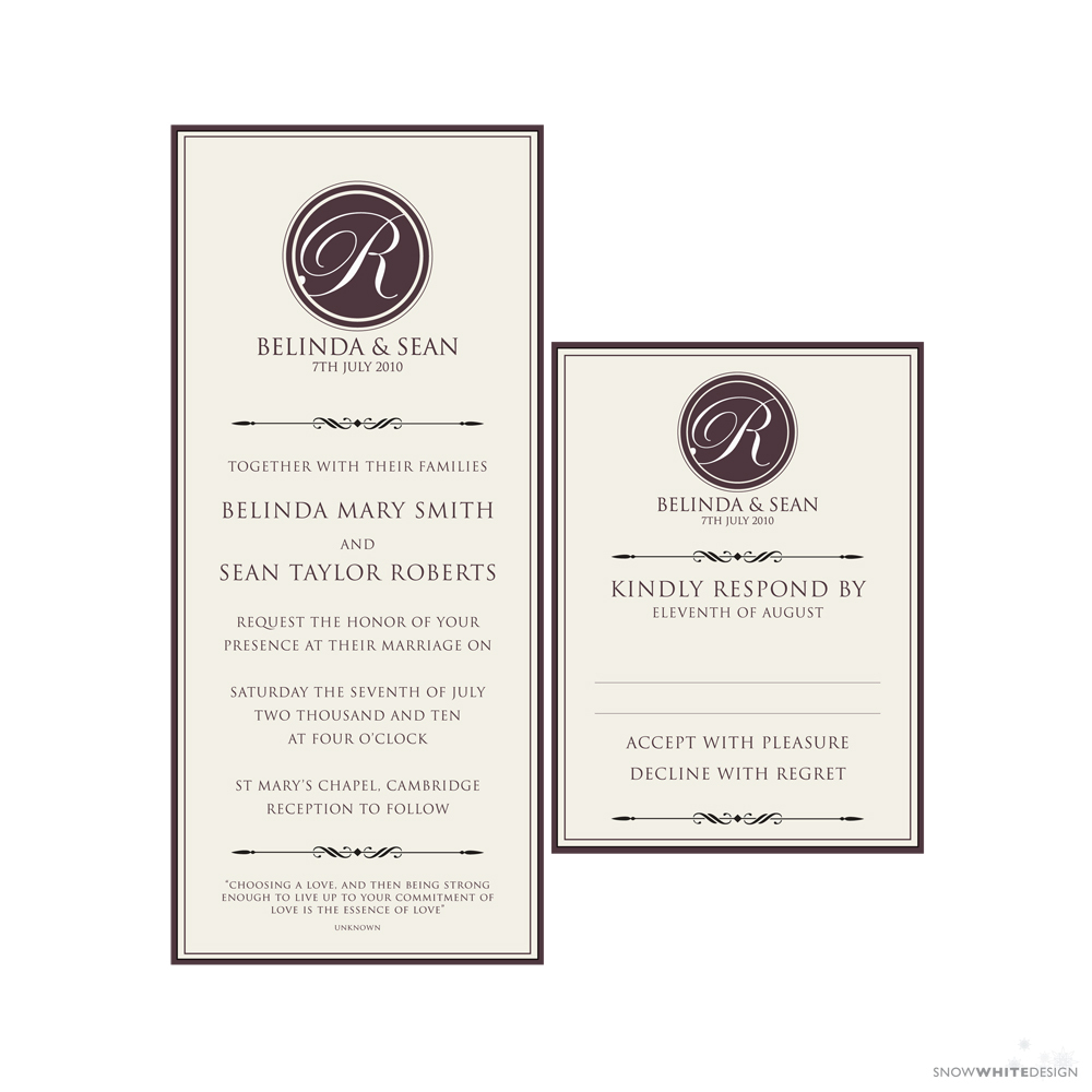 DIY, Stationery, white, brown, invitation, Invitations, Monogram, Rsvp, Design, Invite, Snow, Response, Snow white design