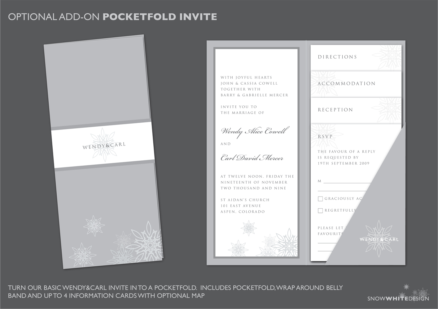 DIY, Stationery, white, invitation, Winter, Invitations, Monogram, Grey, Rsvp, Pocketfold, Design, Pocket, Fold, Invite, Snow, Snowflake, Response, Snow white design