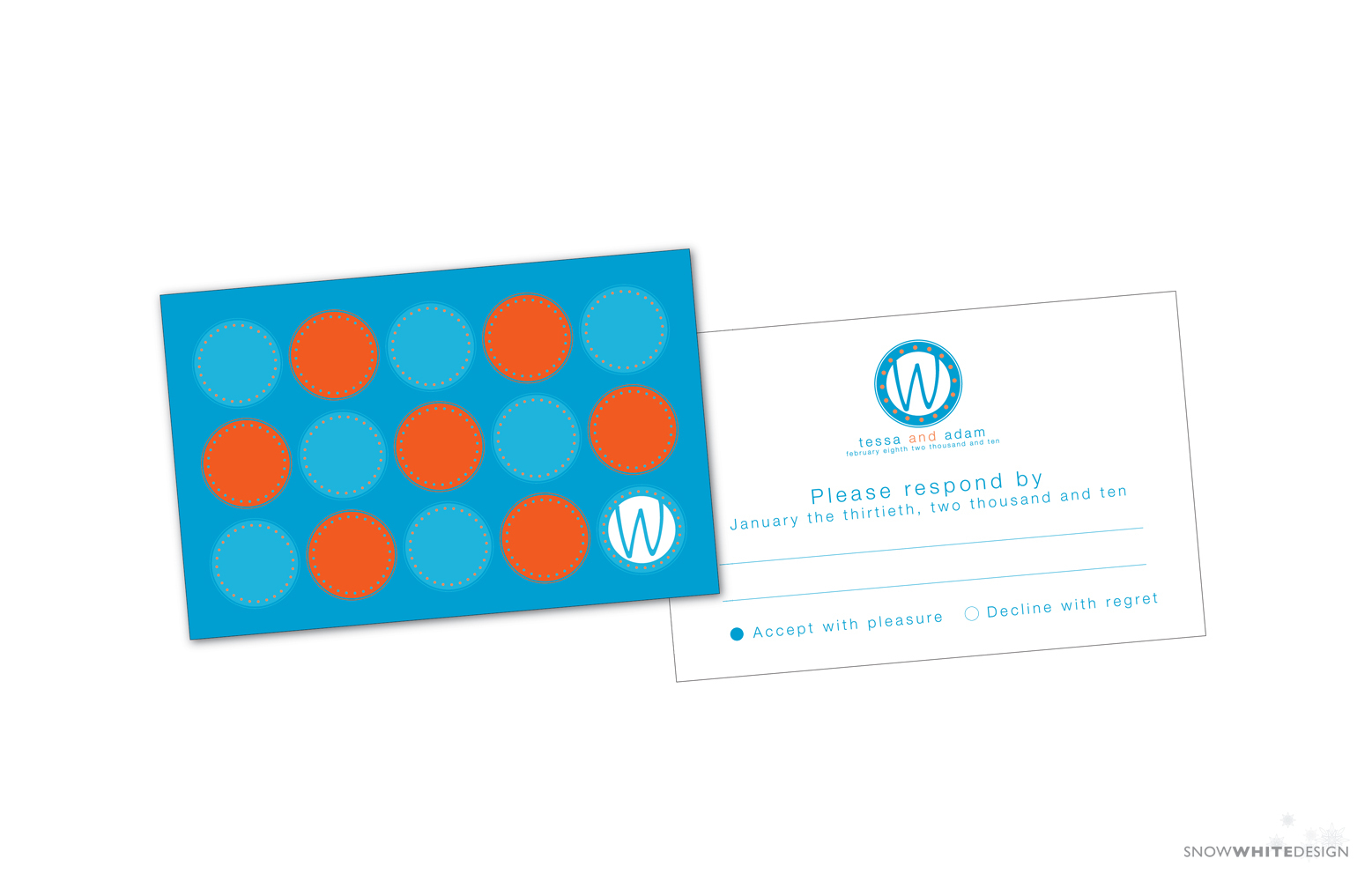 DIY, Stationery, white, orange, blue, invitation, Invitations, Monogram, Pumpkin, Teal, Rsvp, Design, Invite, Snow, Response, Circle, Snow white design