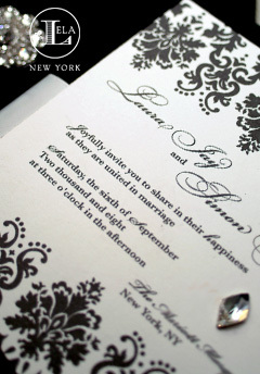 Stationery, white, black, Invitations, Wedding, Silk, Lela new york