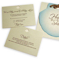 Stationery, invitation, Beach, Square, Beach Wedding Invitations, Invitations, Shell, Bow, Kaleidoscope design studio