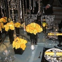 Reception, Flowers & Decor, black, Centerpieces, Square, Flowers, Damask, Vases, Glossy
