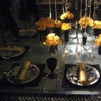 Reception, Flowers & Decor, black, Centerpieces, Square, Flowers, Centerpiece, Damask, Fuschia, Vases, Glossy
