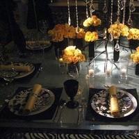 Reception, Flowers & Decor, black, Centerpieces, Square, Flowers, Centerpiece, Damask, Fuschia, Vases, Glossy