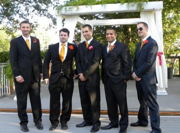 orange, pink, Groomsmen, And
