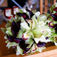 burgundy, green, Bouquet, Orchid, Of, Calla, Bridal, Lily, Cymbidium, Honor, Maid, Libbys flower shop