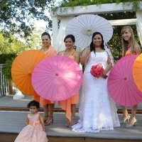 Bridesmaids, Bridesmaids Dresses, Fashion, orange, pink, And, Parasols