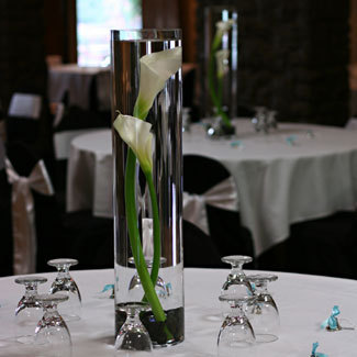 Reception, Flowers & Decor, Centerpieces, Flowers, Submerged, Vase glass, Flower calla, Vase cylinder, Color white, Vendor rebeccas silver rose