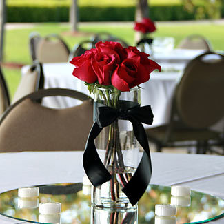 Reception, Flowers & Decor, Centerpieces, Candles, Flowers, Ribbon, Mirror, Vase glass, Flower rose, Color red, Vase cylinder, Vendor rebeccas silver rose