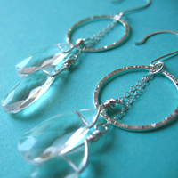 Jewelry, silver, Earrings, Bridal, Crystal, Drop, Spiffing jewelry