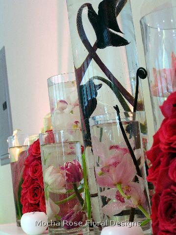 Reception, Flowers & Decor, Centerpieces, Flowers, Submerged, Vase glass, Vase cylinder, Flower tulip, Color pink, Flower orchid, Vendor mocha rose