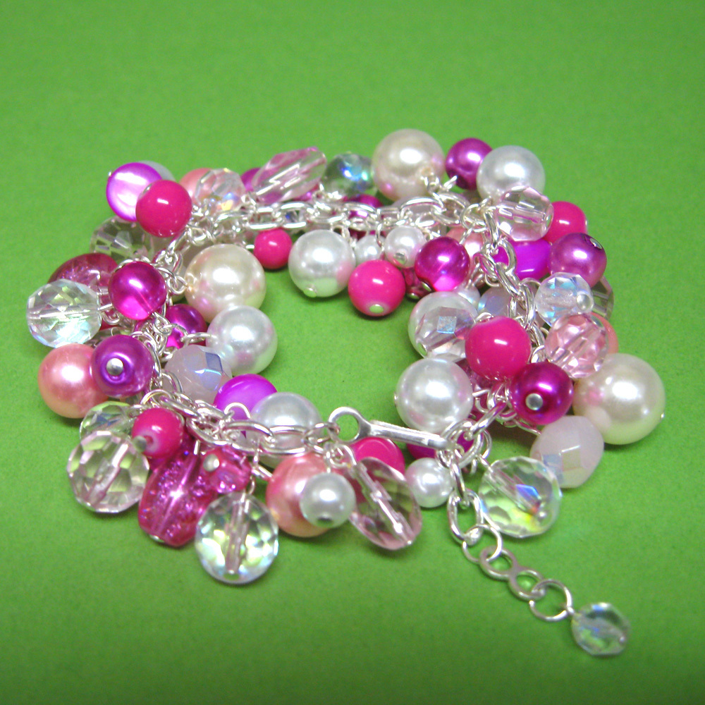 Jewelry, Bridesmaids, Bridesmaids Dresses, Fashion, white, pink, Bracelets, Custom, Gift, Crystal, Bracelet, Pearl, Hot, Fuchsia, Spiffing jewelry