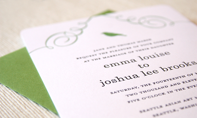 Stationery, green, invitation, Modern, Modern Wedding Invitations, Invitations, Bird, Letterpress, Kelly, Maida vale