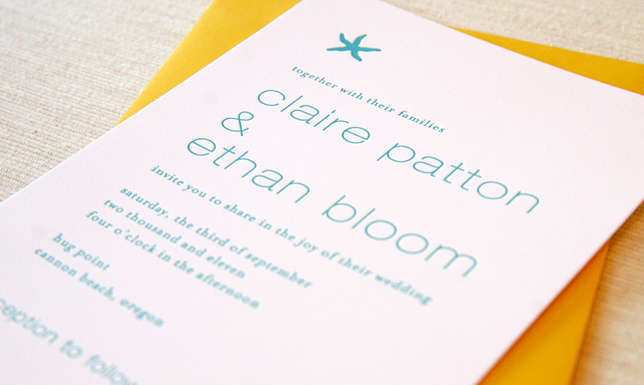 Stationery, Destinations, invitation, Beach, Modern, Beach Wedding Invitations, Modern Wedding Invitations, Invitations, Destination, Starfish, Letterpress, Affordable, Maida vale, Maida, Vale