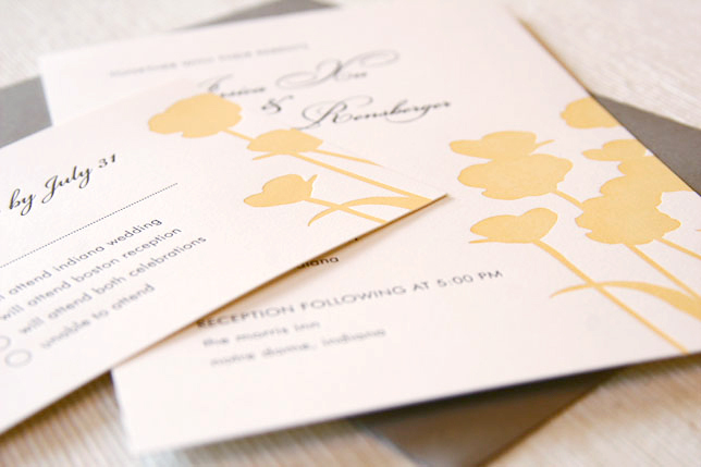 Flowers & Decor, Stationery, gray, invitation, Modern, Modern Wedding Invitations, Invitations, Flower, Floral, Letterpress, Maida vale