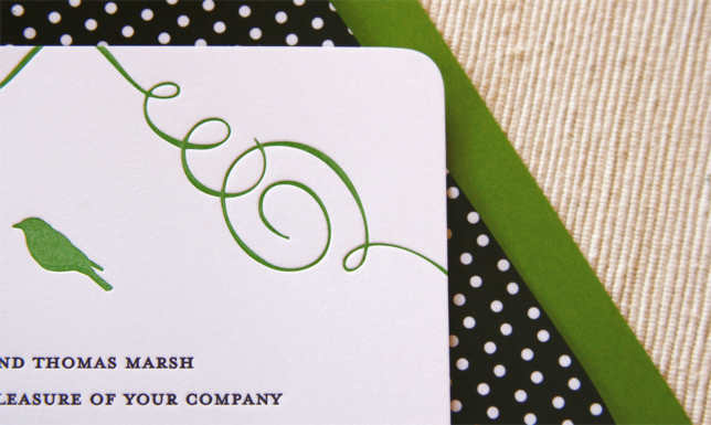 Stationery, green, invitation, Modern, Modern Wedding Invitations, Invitations, Bird, Letterpress, Kelly, Polka, Dot, Maida vale