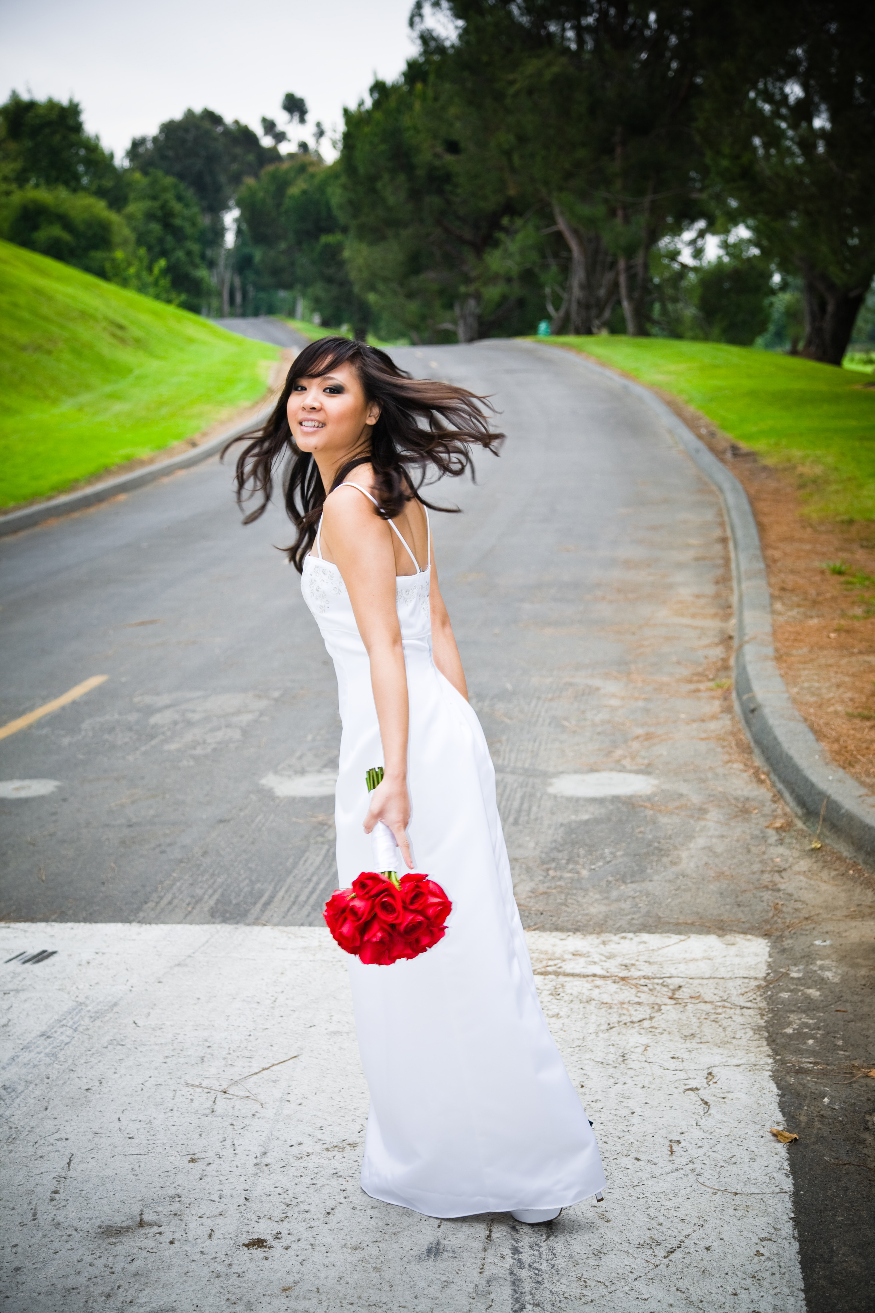 Flowers & Decor, white, red, Bride Bouquets, Bride, Flowers, Asian, Beautiful, Sky, Road, Allen taylor photography