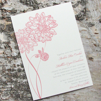 Flowers & Decor, Stationery, pink, invitation, Invitations, Flower, Wedding, Dahlia, Pink lily press, Pinklilypress