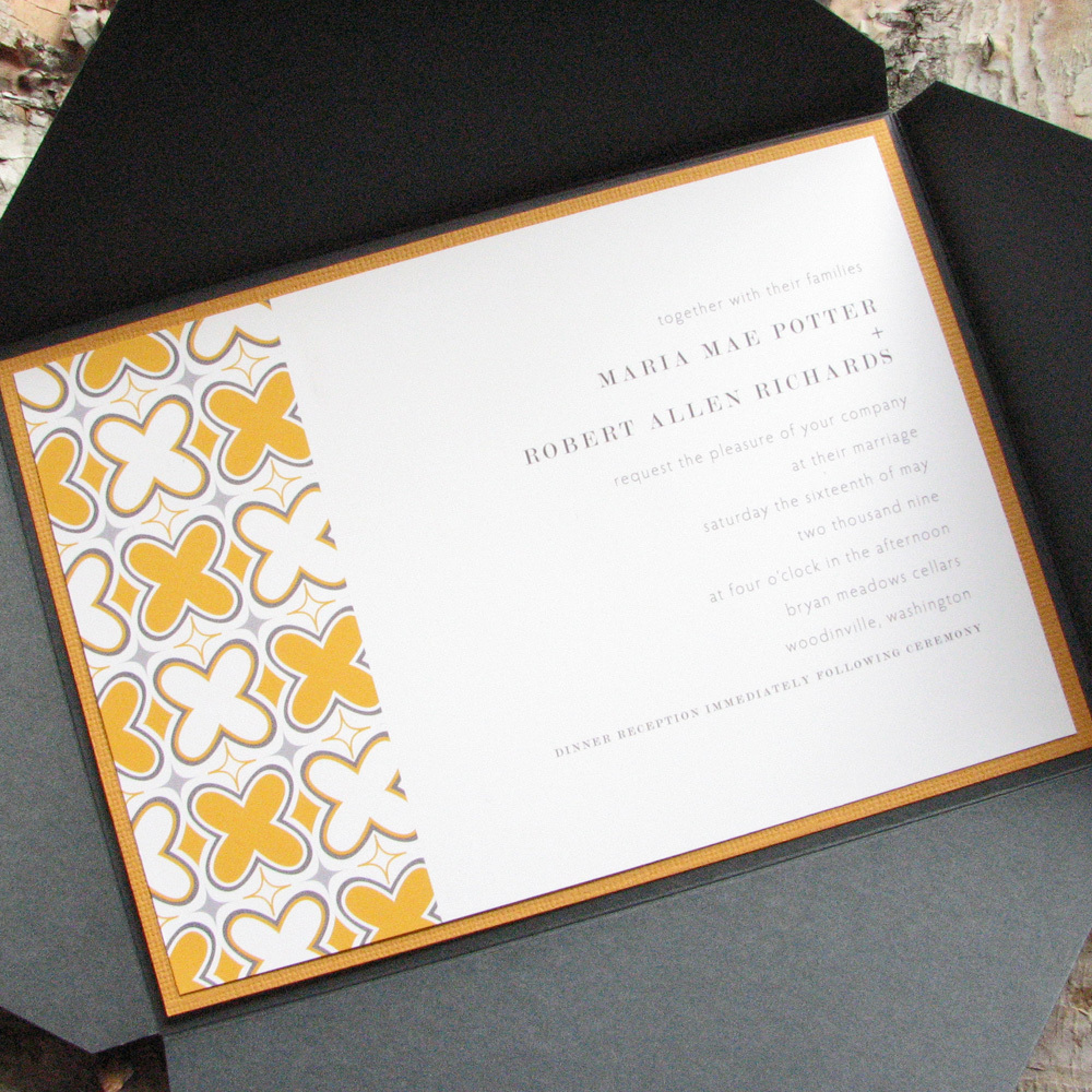 Stationery, yellow, gray, invitation, Invitations, Wedding, Pattern, Pink lily press, Pinklilypress, Quatrefoil