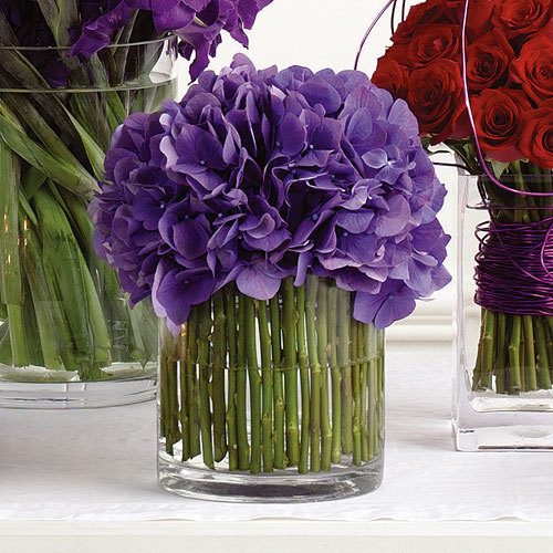 Reception, Flowers & Decor, Centerpieces, Flowers, Centerpiece, Vase glass, Vase cylinder, Flower hydrangea, Color violet, Vendor party town