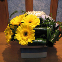 Reception, Flowers & Decor, white, yellow, green, Centerpieces, Flowers, Centerpiece, Vase, Ceramic, San diego wholesale flowers