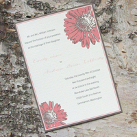Flowers & Decor, Stationery, pink, invitation, Invitations, Flower, Daisy, Pink lily press, Pinklilypress