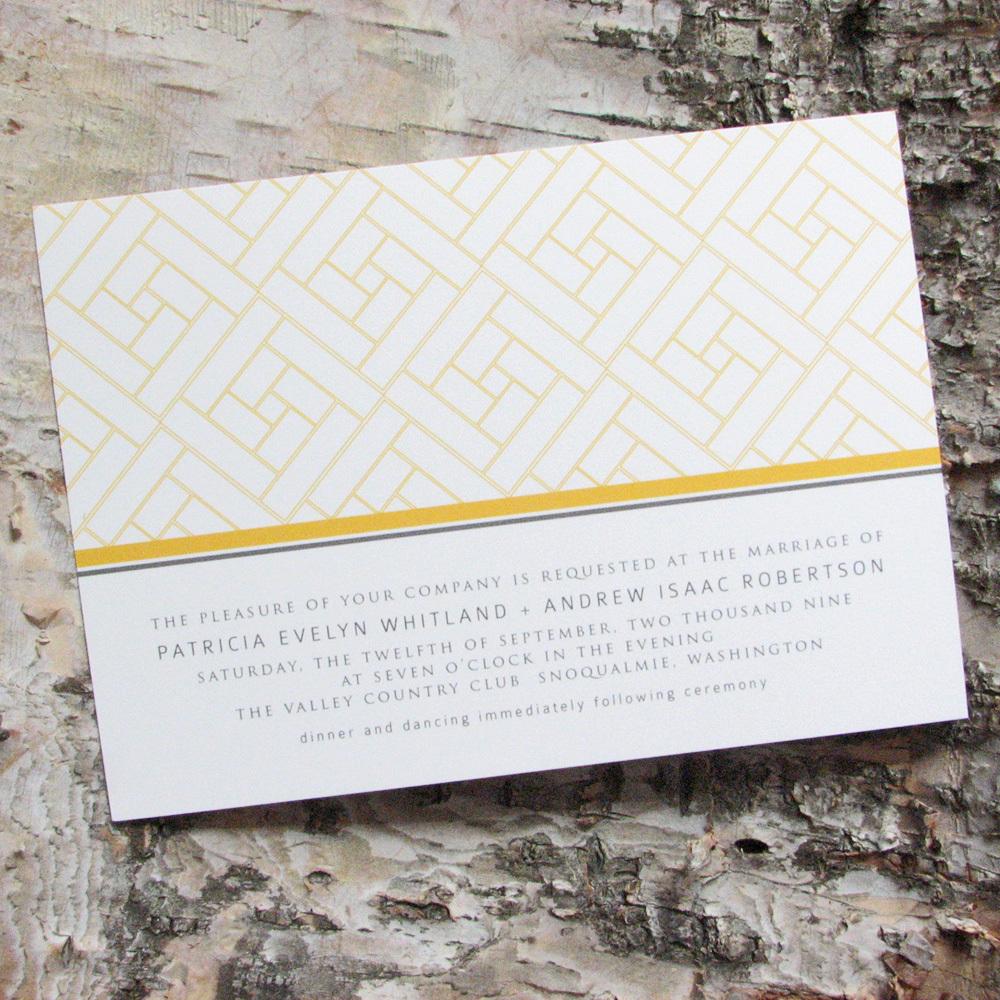 Stationery, yellow, gray, invitation, Invitations, Wedding, Custom, Personalized, Lattice, Pink lily press, Pinklilypress