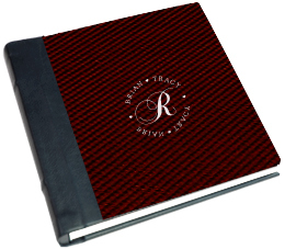 red, black, Monogram, Custom, Album, Leather, Emboss, Pictobooks, Etch
