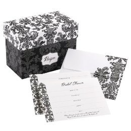 Stationery, Invitations, Black and white damask, Recipe book, Bridal shower set