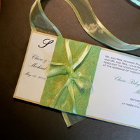 Stationery, white, green, invitation, Invitations, Wedding, Custom, Ribbon, Natural, Handmade, Fanfare handmade invitations and correspondence