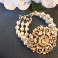 Flowers & Decor, Jewelry, Wedding Dresses, Vintage Wedding Dresses, Fashion, white, ivory, dress, Bracelets, Brooches, Vintage, Accessories, Flower, Bridal, Champagne, Pearls, Crystal, Weddings, Bracelet, Swarovski, Brooch, Clip, Croska, Pacifier